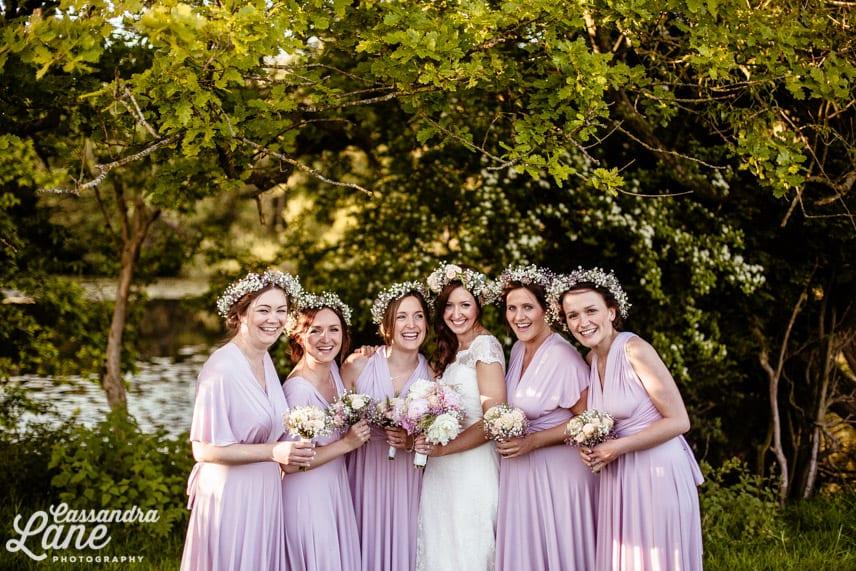 Bridesmaids Wearing Dessy Dresses