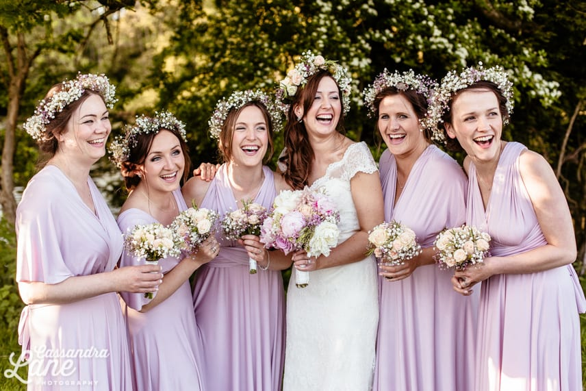 Bridesmaids Wearing Lilac Dresses