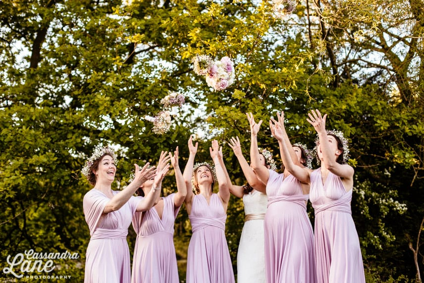 Bridesmaids Wearing Lilac Dresses & Flower Crowns