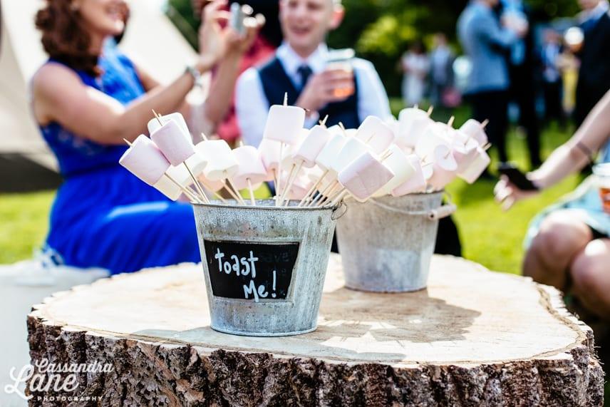 Marshmallows to toast at wedding
