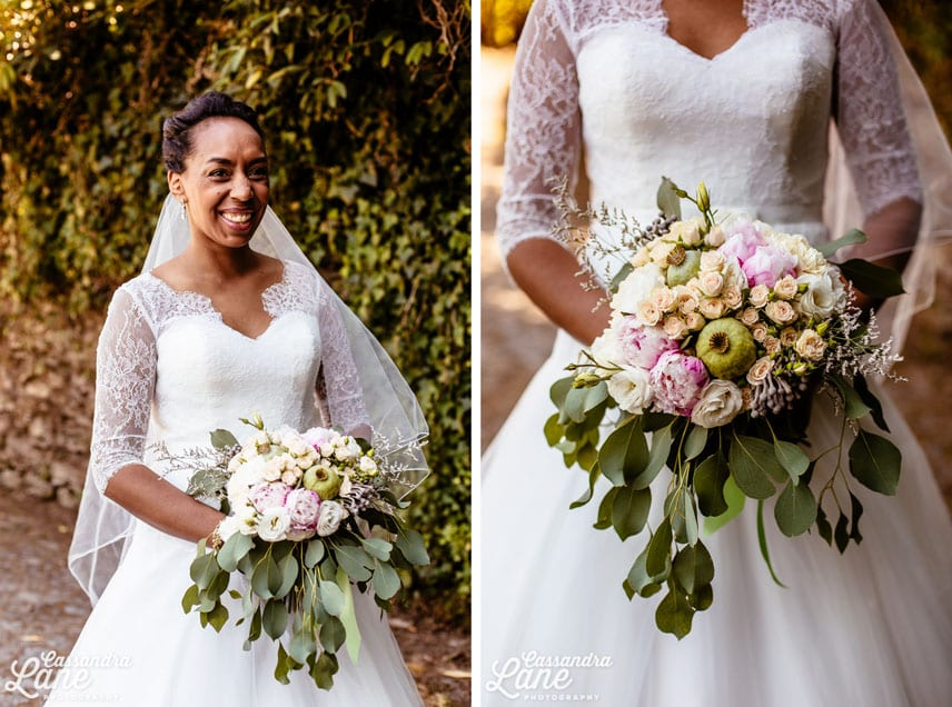 Bride with Rustic Vintage Bouquets