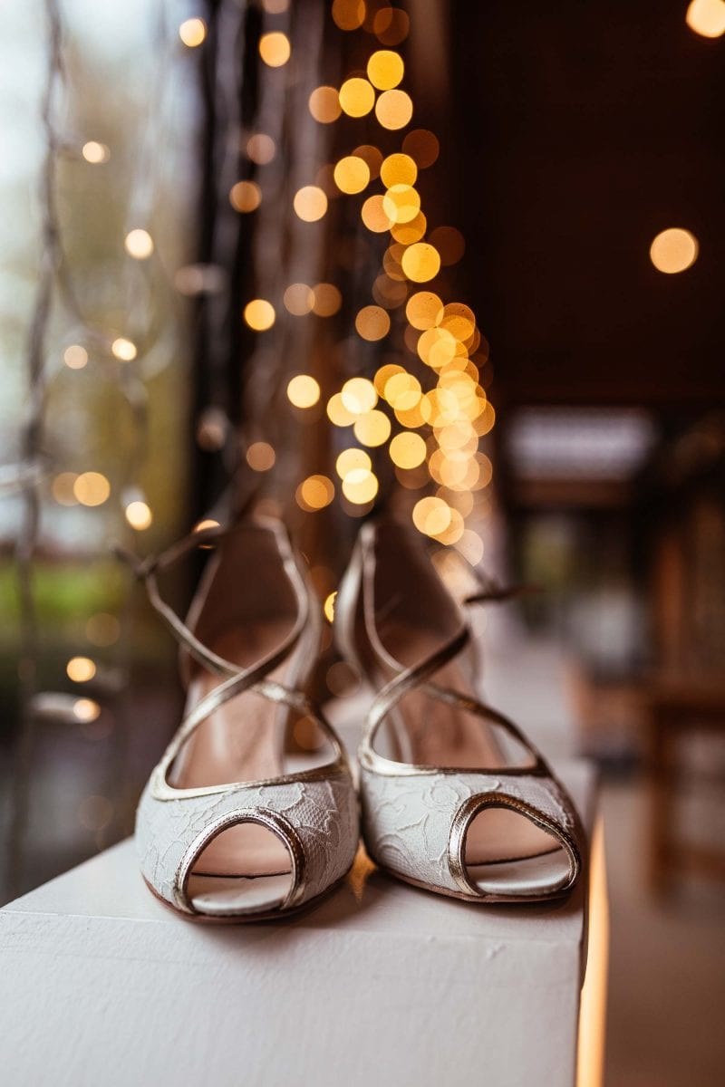 Picture of brides shoes at Styal Lodge