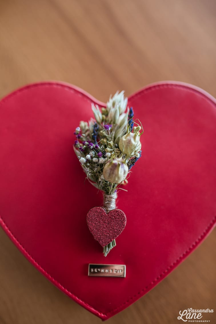 Glitter Heart Wedding Buttonhole