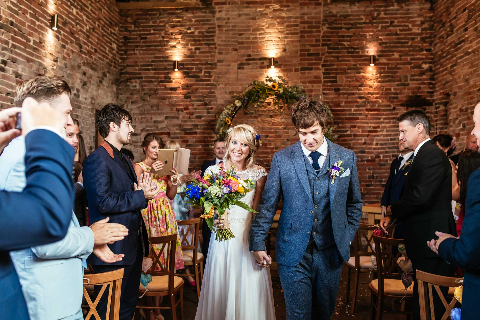 Colourful Vintage Barn Wedding Ceremony