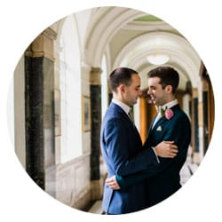 portrait of two grooms at Islington Town Hall