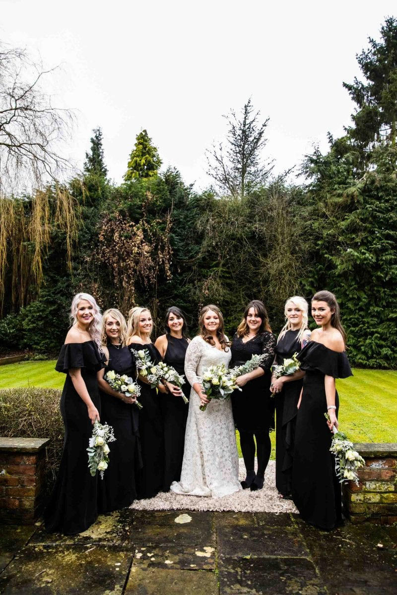 Black Bridesmaids dresses for Winter Wedding at Manchester Museum