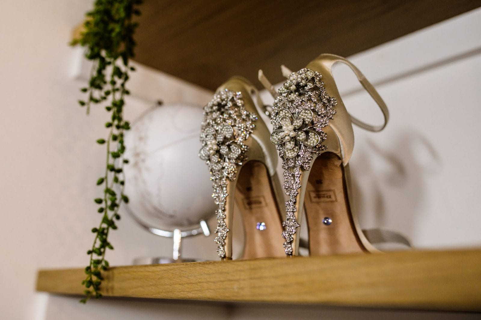 Beaded heel bridal shoes