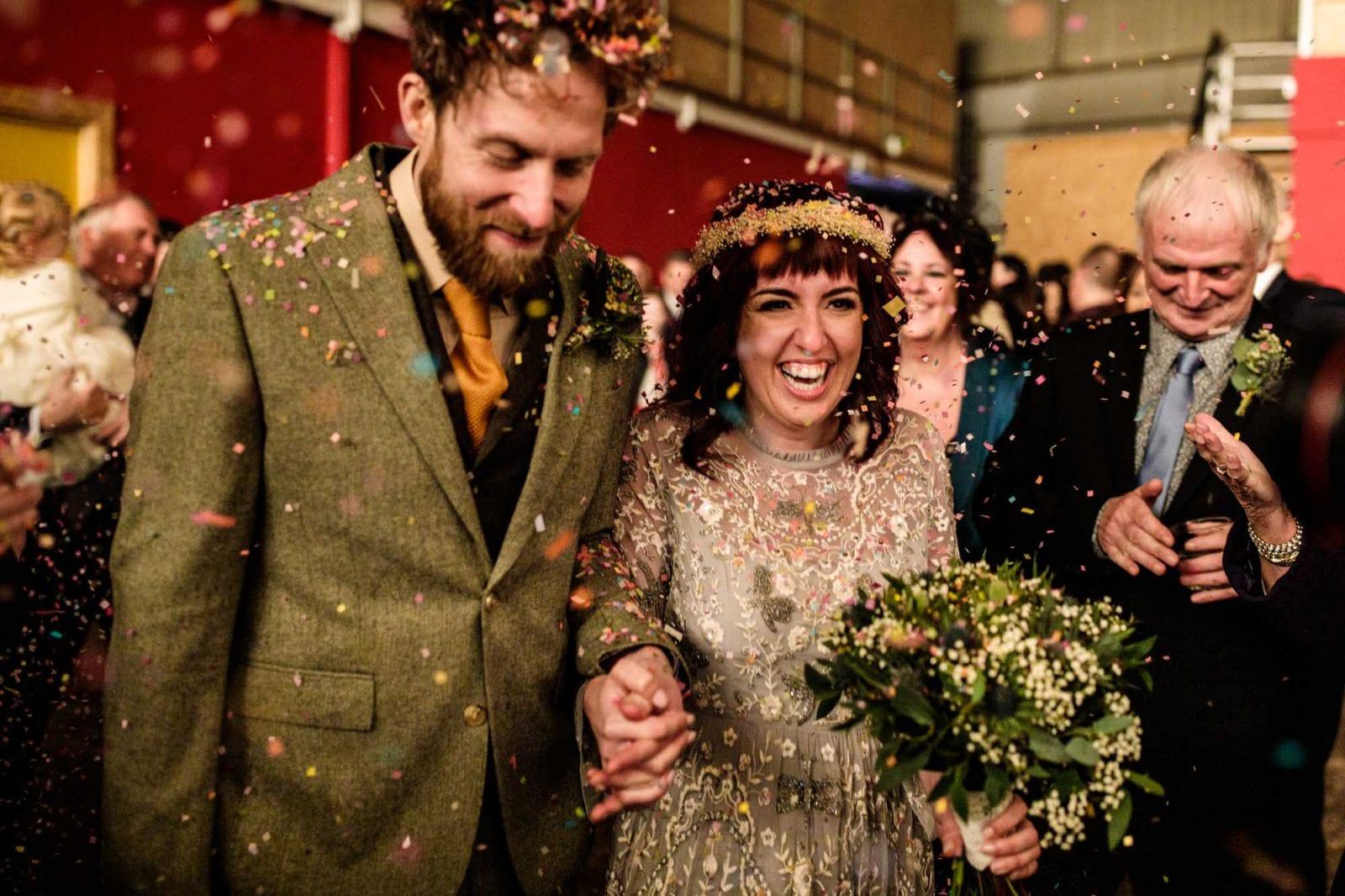 Alternative Bride and Groom Confetti shot