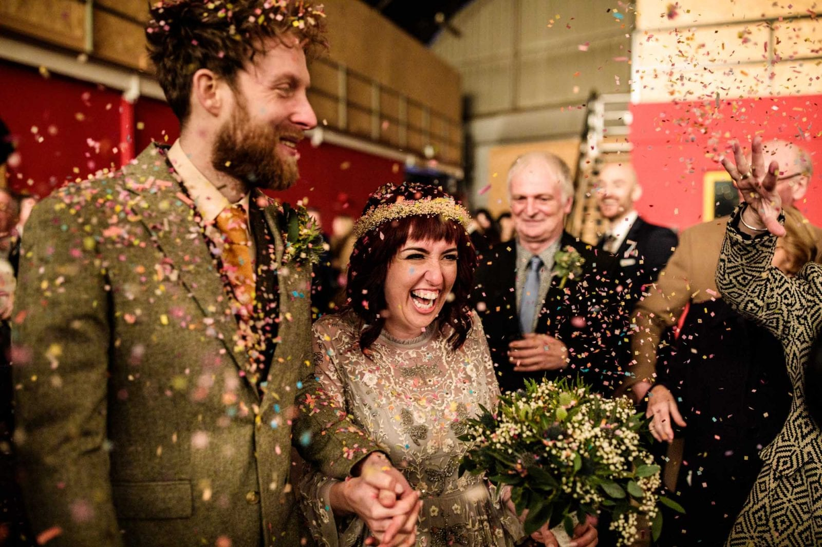 Alternative Bride and Groom with Confetti