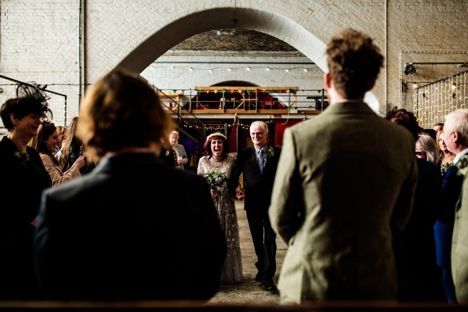 Bride walking down aisle at Fairfield Social Club