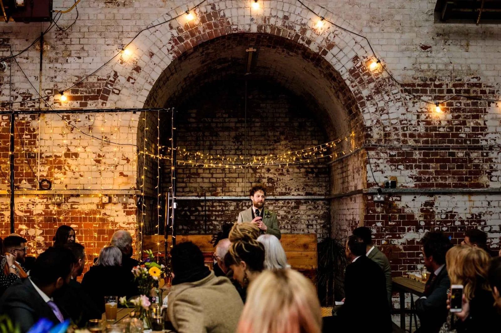 Wedding speech at urban wedding