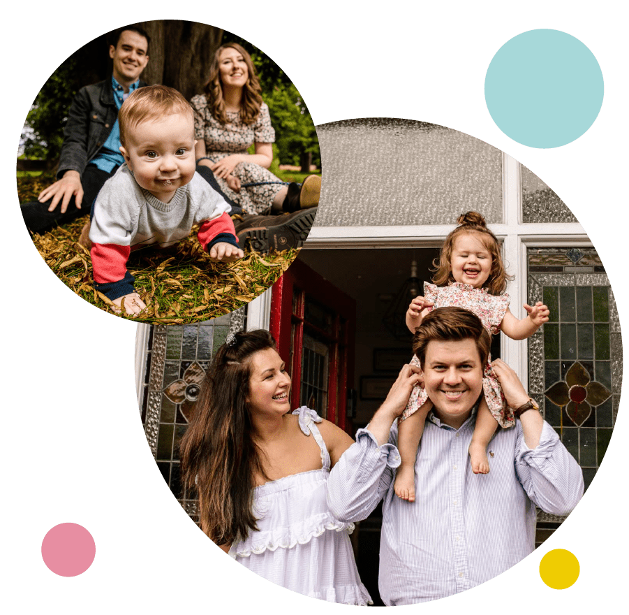 Left image shows a family portrait photography session outdoors in Cheshire. Right image shows a family doorstep portrait session in Cheshire.