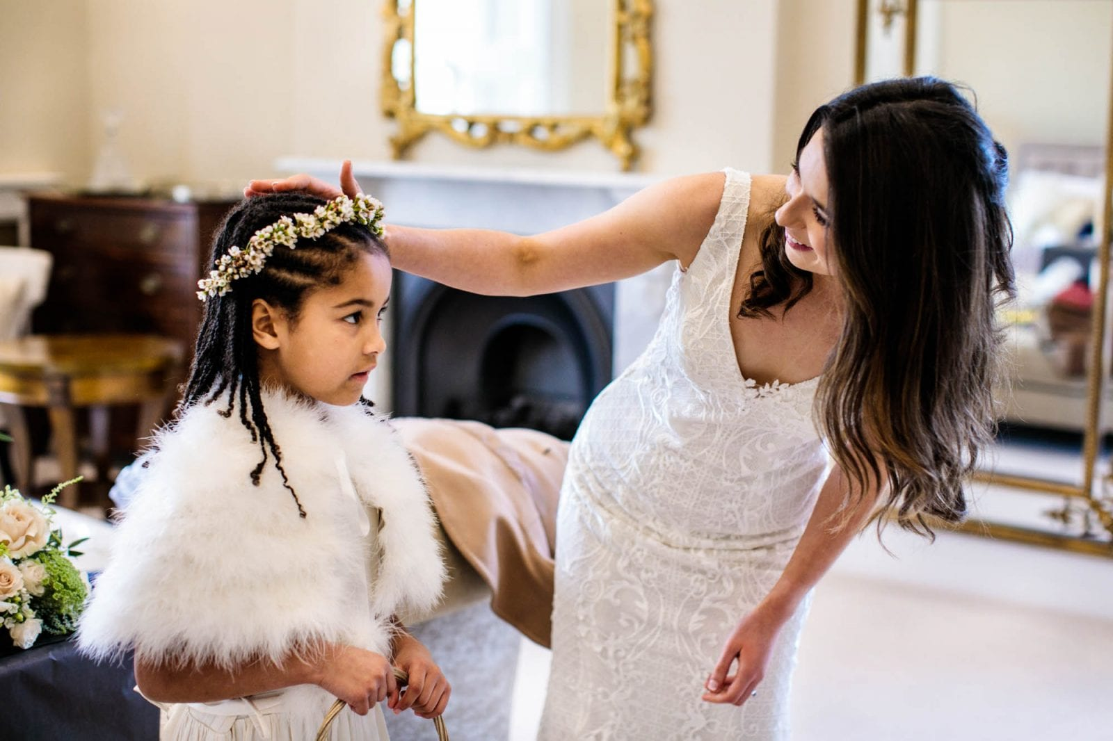 Bride and flower girl at St Tewdrics House