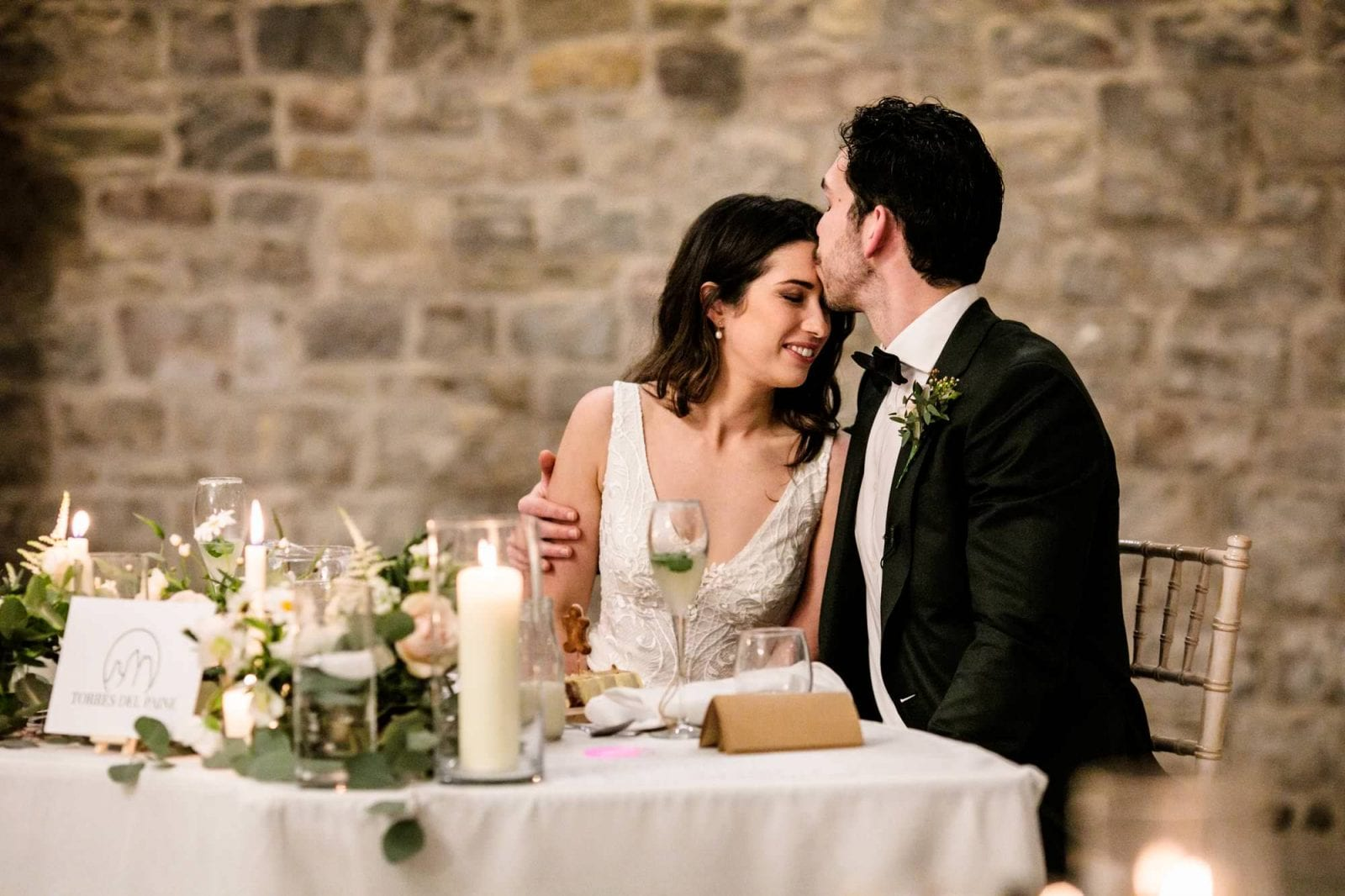 Bride and groom at reception at St Tewdrics House