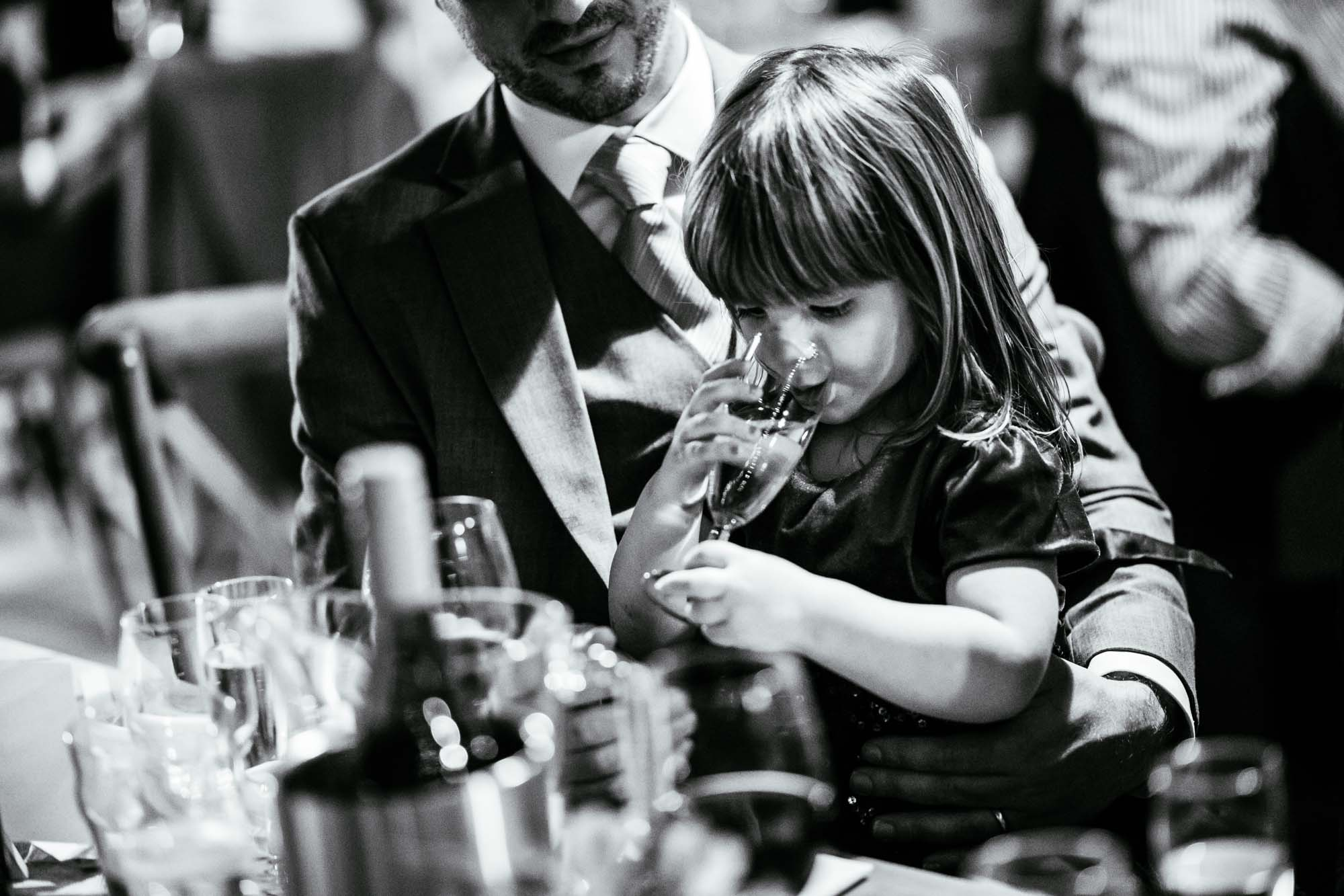 Girl drinking from champagne glass