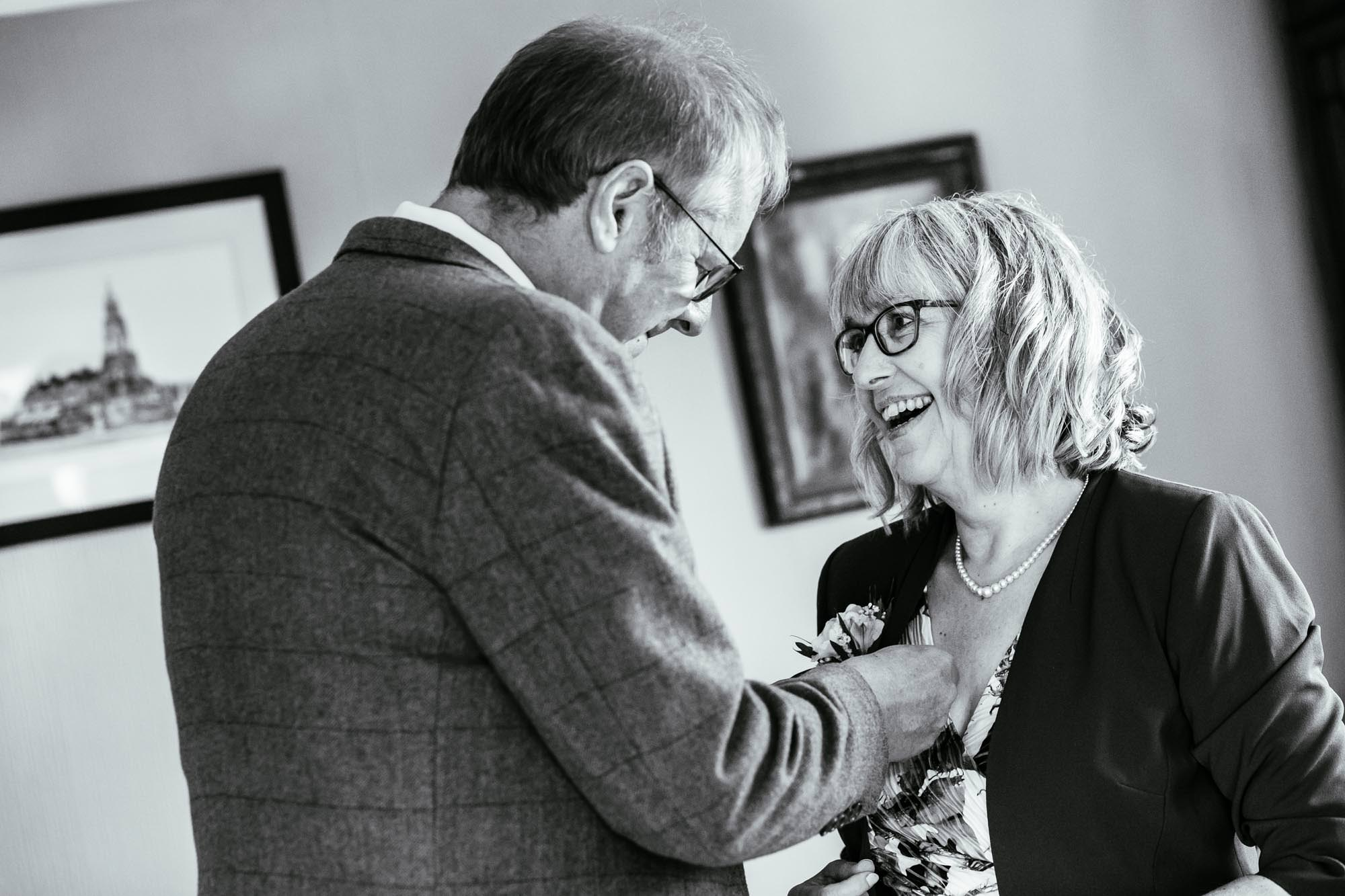 Parents getting ready for wedding