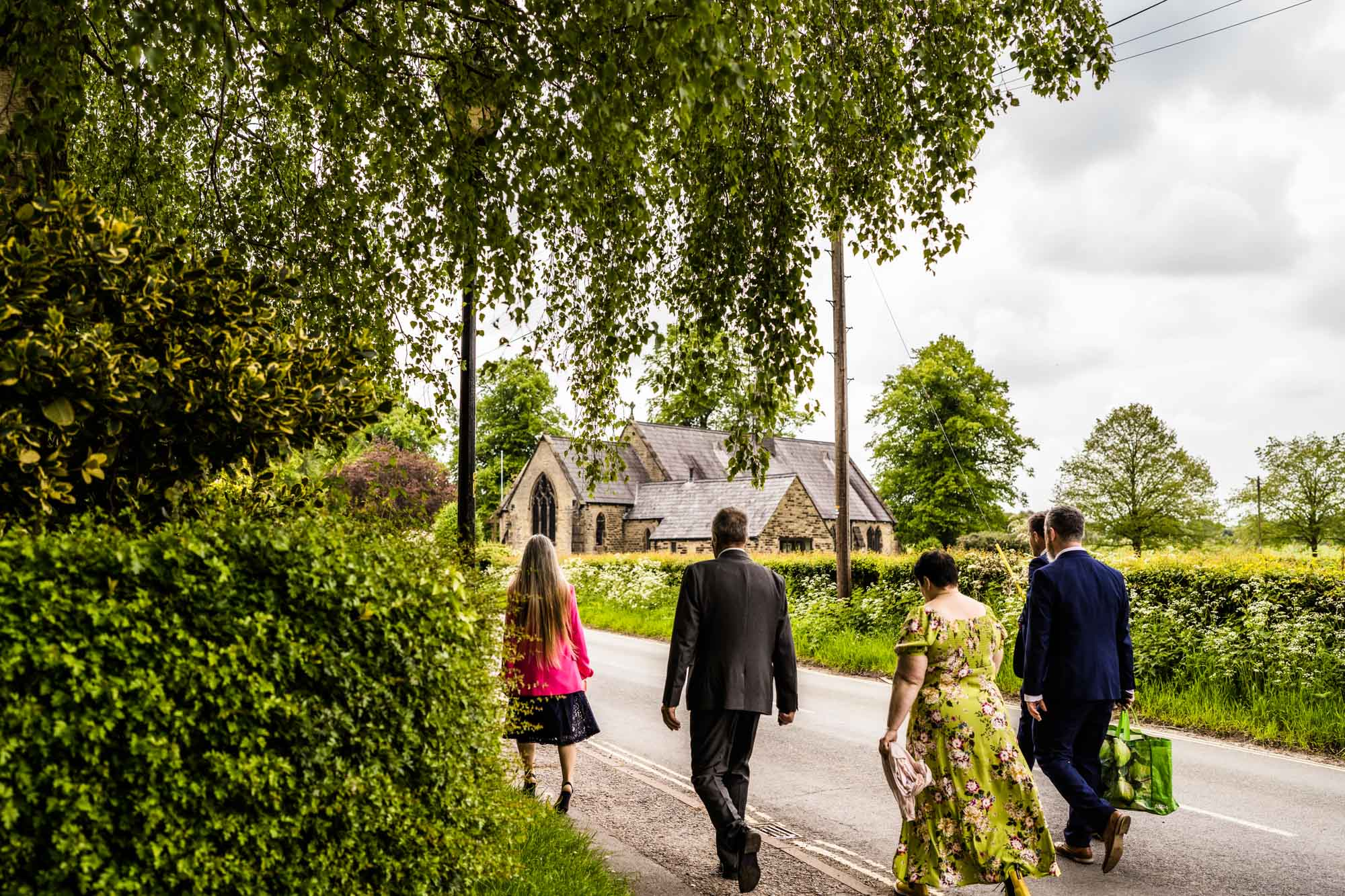 Guests walking to St Marks Dunham Massey