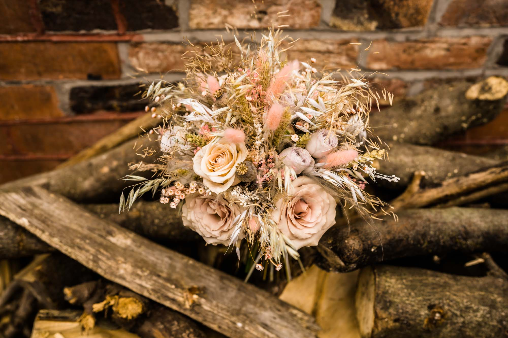 Pink and natural wedding bouquet