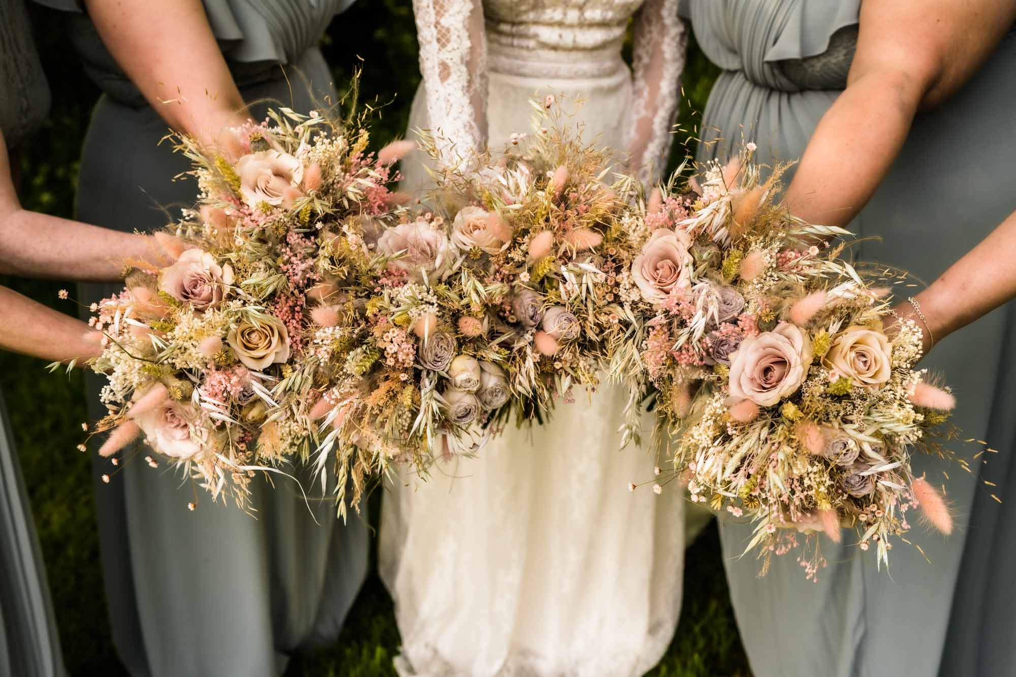 Pink and neutral bridal bouquets